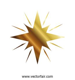 star with 8 points and lines gold style icon