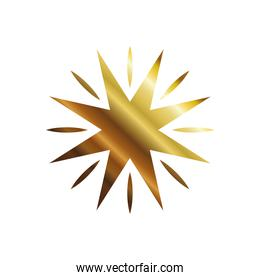 star with 8 points and lines gold style icon vector design
