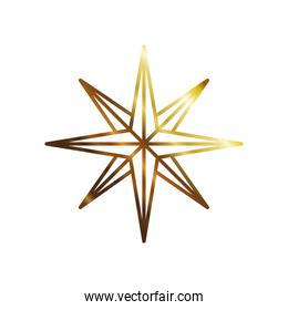 golden color star with eight points style icon