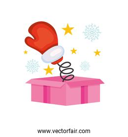 boxing day concept, boxing glove coming out of pink gift box, colorful design