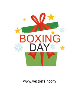 boxing day design with gift box, colorful design