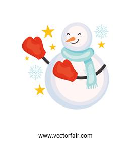 snowflake with boxing gloves with stars around, colorful design