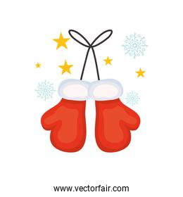 boxing day concept, christmas gloves with stars and snowflakes around, colorful design