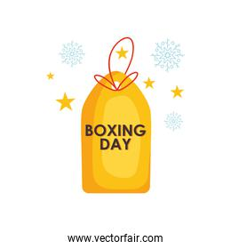 price tag with boxing day design with decorative stars around, colorful design
