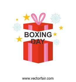 boxing day concept, open gift box with snowflakes and stars around, colorful design