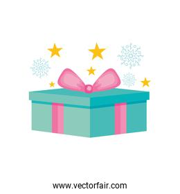 blue gift box with pink bow and decorative stars, colorful design