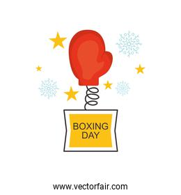 boxing day concept, boxing glove coming out with stars and snowflakes around, colorful design