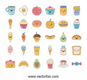 kawaii coffee mug and food icon set, flat style