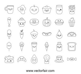 kawaii coffee mug and food icon set, line style
