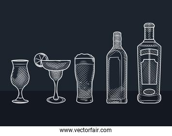 sketch design of alcoholic drinks, sketch style