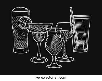 beer glass and alcoholic drinks, sketch style