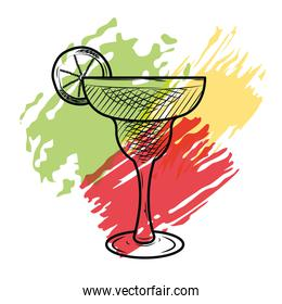 alcoholic drinks concept, margarita cocktail icon, sketch style