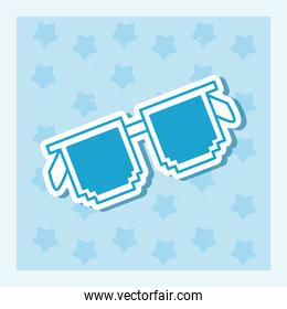 glasses with pixel frame, line style on blue background