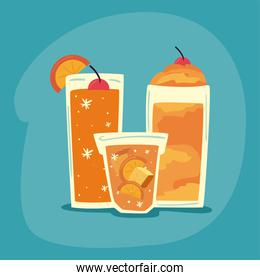 delicious drinks orange in glass on blue background