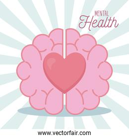 mental health with brain and heart icon