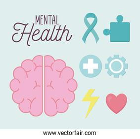 mental health poster with brain and icon set vector design
