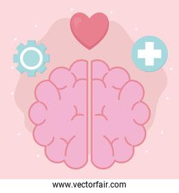 mental health with brain and icon set vector design