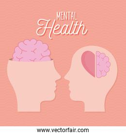 mental health with heads brain and heart vector design
