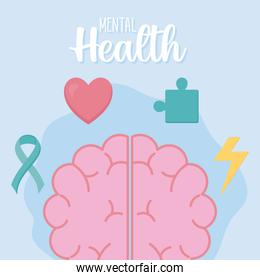 mental health with brain and set icons vector design