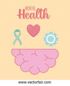 mental health banner with brain and icon set vector design