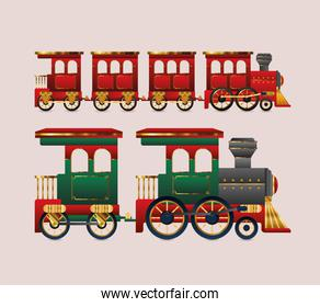 merry christmas red and green trains vector design