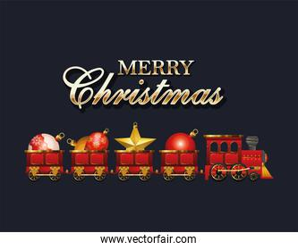 merry christmas train with spheres vector design