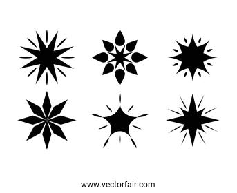 star silhouette style set of icons vector design
