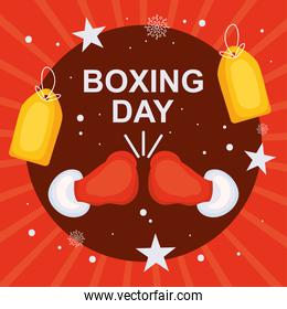 boxing day design with boxing gloves and price tags, colorful design
