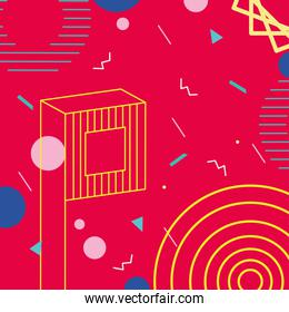 memphis design with circles and geometric colorful shapes