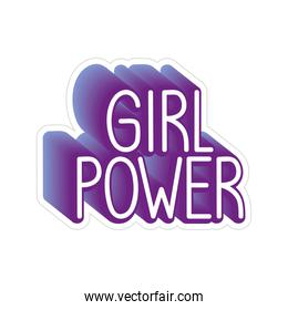 girl power lettering with shadow