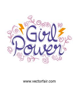 girl power lettering with flowers
