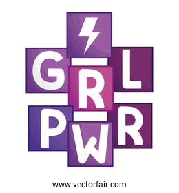 girl power lettering with ray in square