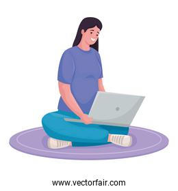 woman using laptop for meeting online in the floor