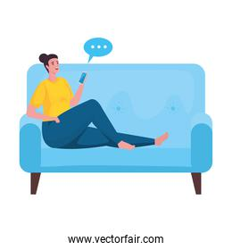 woman using smartphone for meeting online in the blue sofa