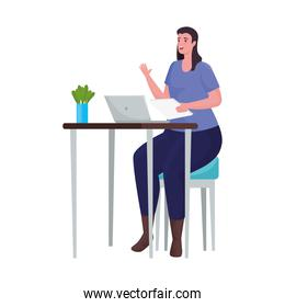 woman using laptop for meeting online in the desk