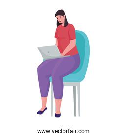 woman using laptop for meeting online in the chair