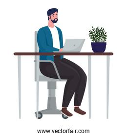 man using laptop computer for meeting online in the office