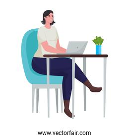 woman using laptop for meeting online in the office