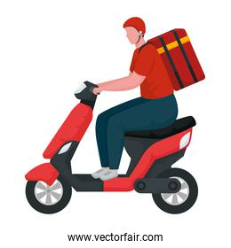 delivery worker in motorcycle character