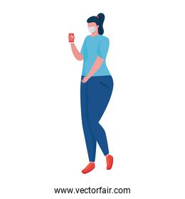 woman wearing medical mask using smartphone character
