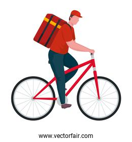 delivery worker in bicycle isolated icon