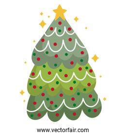 merry christmas tree with star and balls decoration and celebration icon