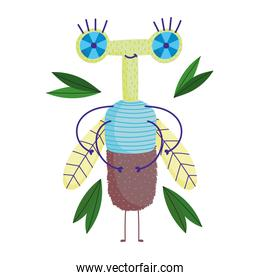 funny bug animal and nature leaves in cartoon style