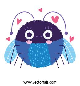 funny bug animal and hearts decoration in cartoon style