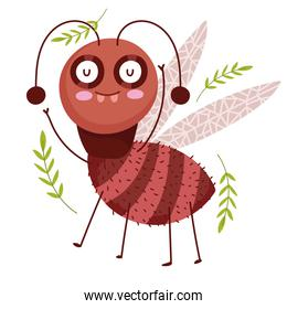 funny bug animal and branches nature in cartoon style
