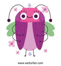 funny bug animal and flowers in cartoon style