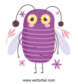 funny bug animal and flowers leaves in cartoon style