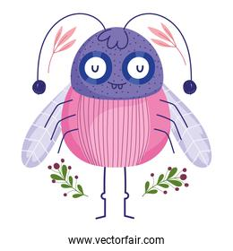 funny bug animal and branch with berries in cartoon style