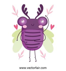 funny bug animal leaves hearts in cartoon style