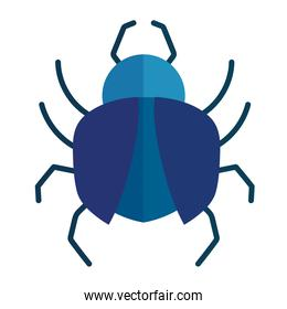 blue insect animal in cartoon flat icon style